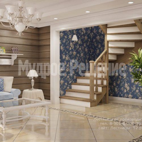 деревянная лестница на заказ модель 1