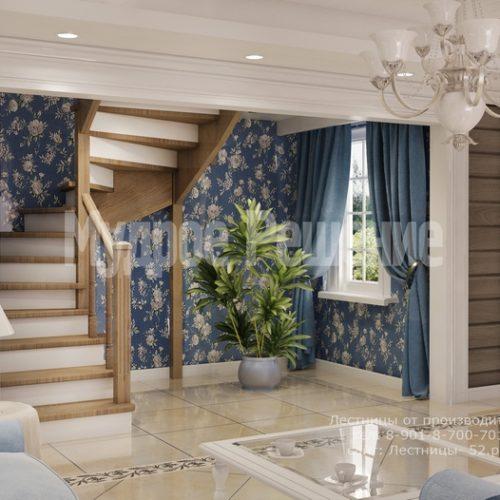 деревянная лестница на заказ модель 1 вид 2