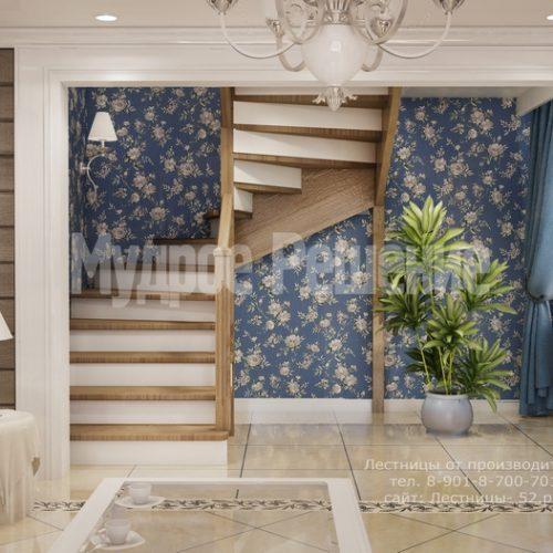 деревянная лестница на заказ модель 1 вид 3