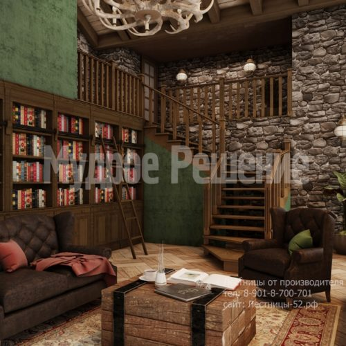 Деревянная лестница модель 8 вид 2