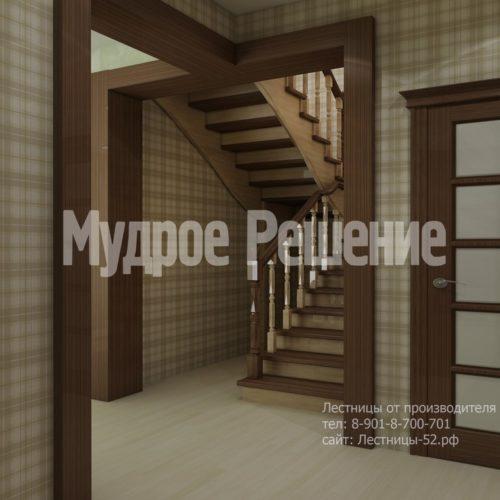 Деревянная лестница п-образная с поворотными ступенями вид 2
