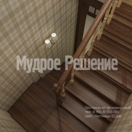 Деревянная лестница п-образная с поворотными ступенями вид 4