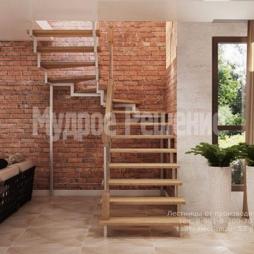лестница на металлическом каркасе проект 2 вид 2