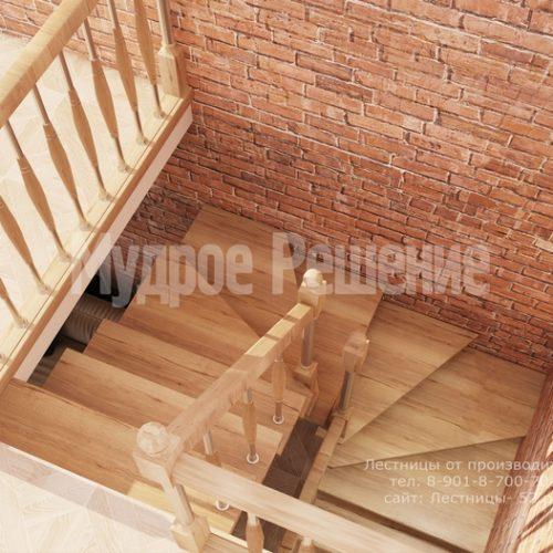 лестница на металлическом каркасе проект 2 вид 5