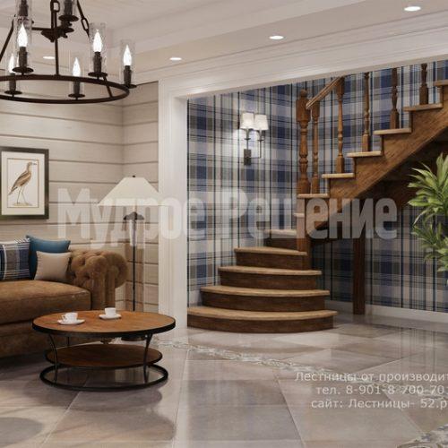 деревянная лестница на второй этаж модель 2