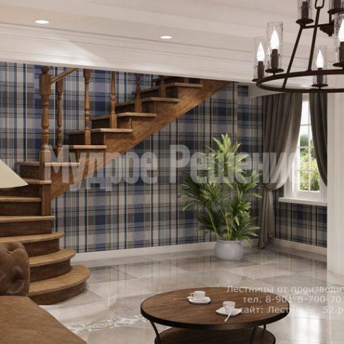 деревянная лестница на второй этаж модель 2 вид 2