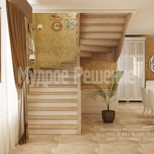лестница из дерева модель 3 вид 2