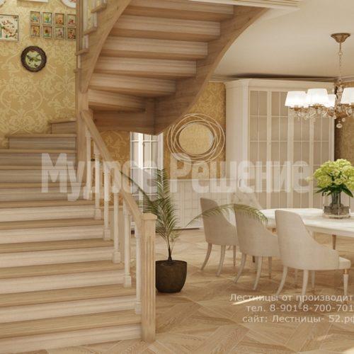 лестница из дерева модель 3 вид 3