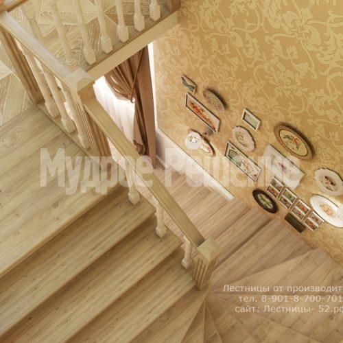 лестница из дерева модель 3 вид 4