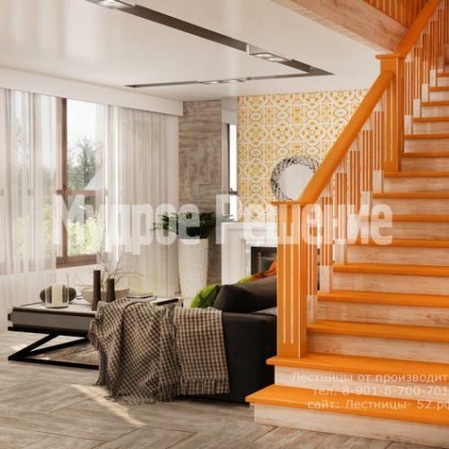 деревянная лестница в доме проект 4 вид 2