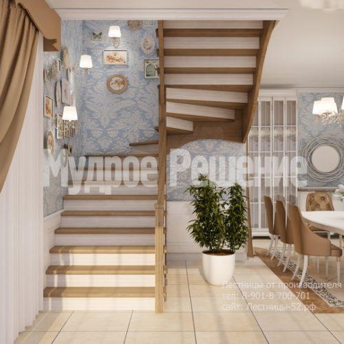 лестница из дерева модель 6 вид 2