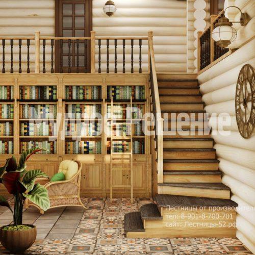 Лестница на металлокаркасе в деревянном дом