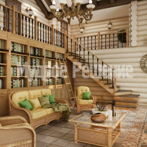 Лестница на металлокаркасе в деревянном дом вид 2