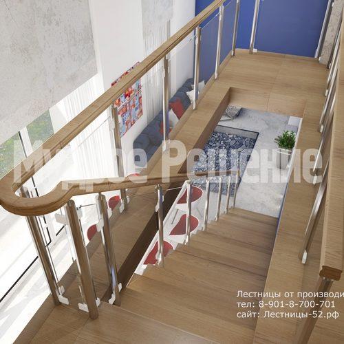 лестница на металлокаркасе проект 1 вид 5