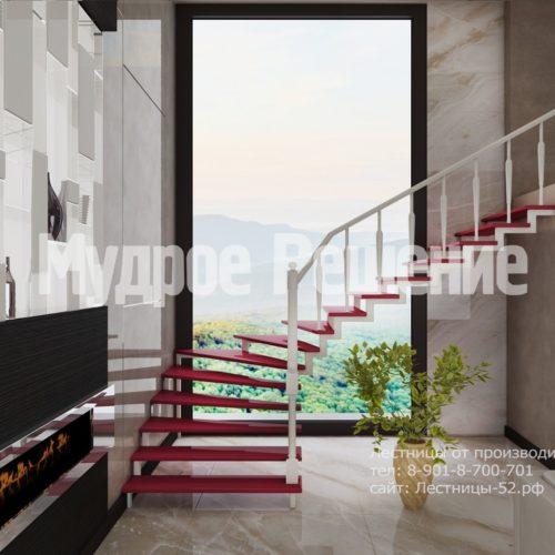 лестница на заказа на металлокаркасе модель 6