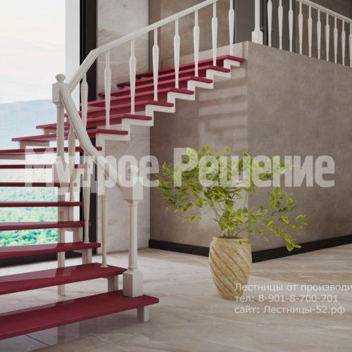 лестница на заказа на металлокаркасе модель 6 вид 3