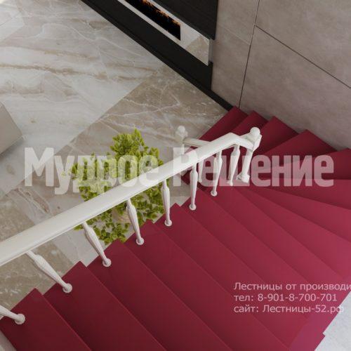 лестница на заказа на металлокаркасе модель 6 вид 4