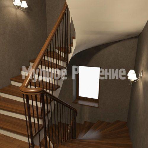 П-образная лестница на больцах вид 2