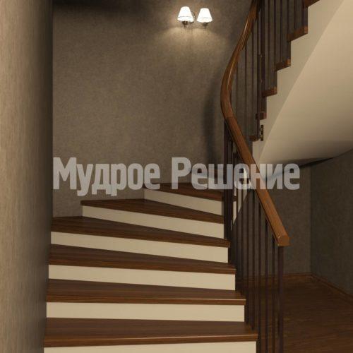 П-образная лестница на больцах вид 1