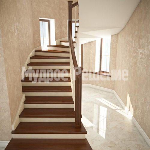 Деревянная лестница на кольцах вид 2