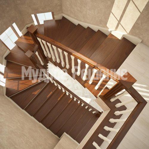Деревянная лестница на кольцах вид 3