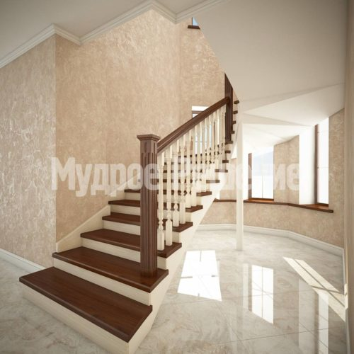 Деревянная лестница на кольцах вид 1
