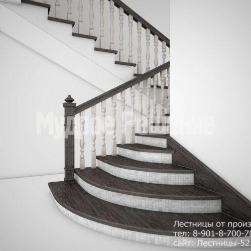 Лестница на кольцах из дерева вид 1