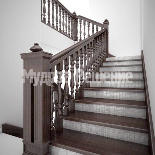 Лестница на кольцах из дерева вид 2