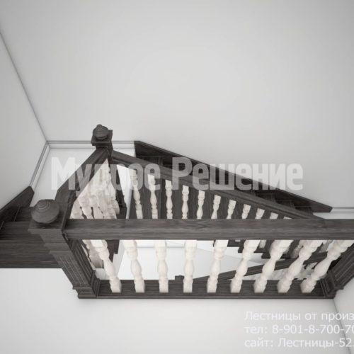 Лестница на кольцах из дерева вид 3