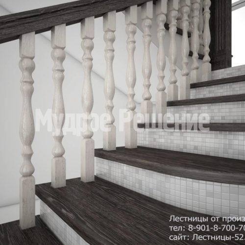 Лестница на кольцах из дерева вид 4