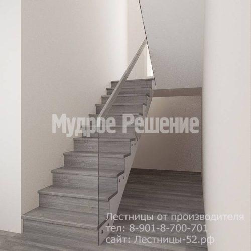 Лестница на больцах на второй этаж модель 8 вид 1