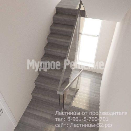 Лестница на больцах на второй этаж модель 8 вид 3