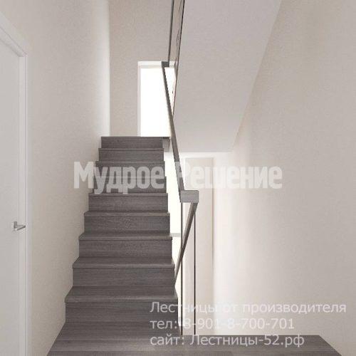 Лестница на больцах на второй этаж модель 8 вид 4