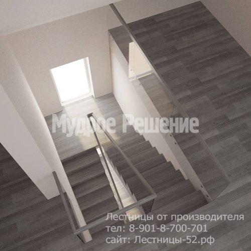 Лестница на больцах на второй этаж модель 8 вид 5