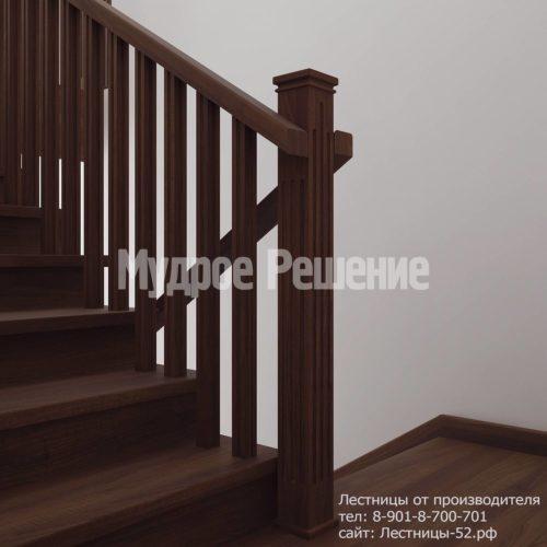 Лестница деревянная на второй этаж модель 12 вид 3