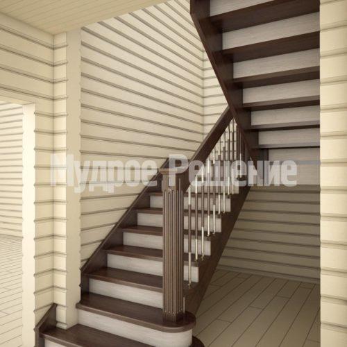 Светлая деревянная лестница вид 2