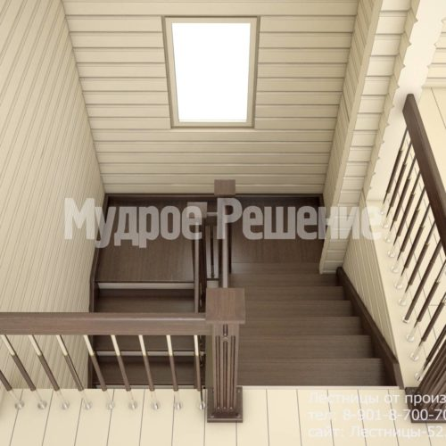 Светлая деревянная лестница вид 3