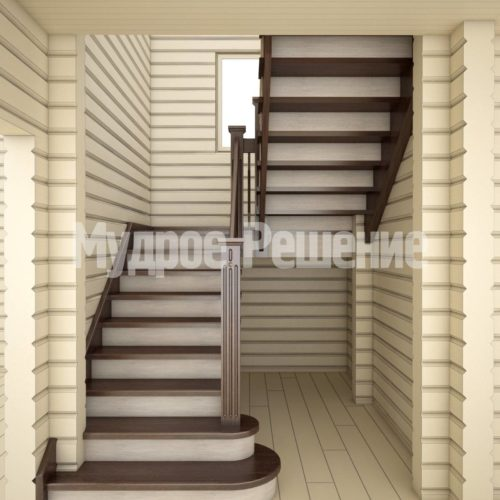 Светлая деревянная лестница вид 1