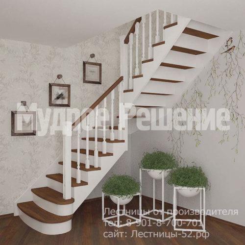 Белая деревянная лестница Г-образная вид 1