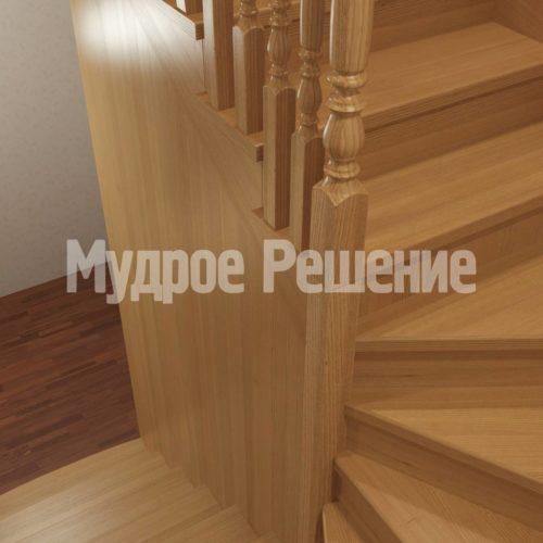 Деревянная лестница модель 15 вид 2