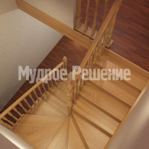 Деревянная лестница модель 15 вид 3
