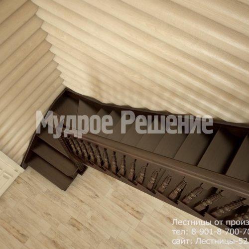 Г-образная лестница на второй этаж вид 3