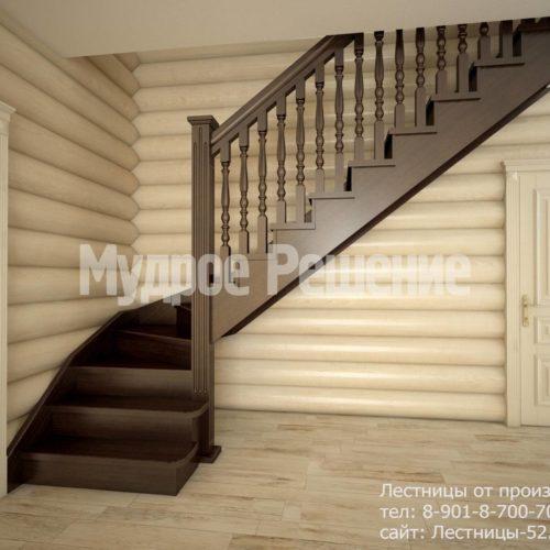 Г-образная лестница на второй этаж вид 1
