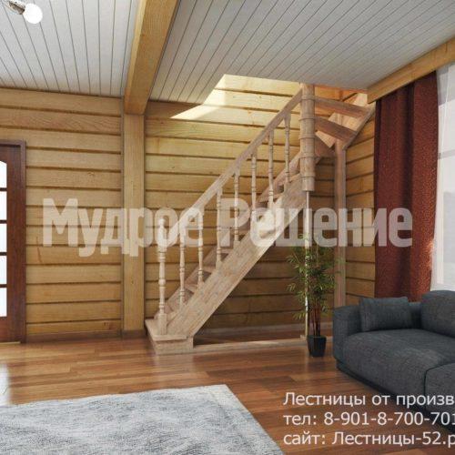 Резная деревянная лестница вид 2