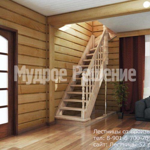 Резная деревянная лестница вид 1
