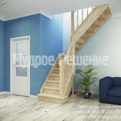 Светлая лестница на заказ вид 1