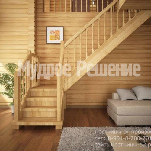 Г-образная лестница на второй этаж вид 2