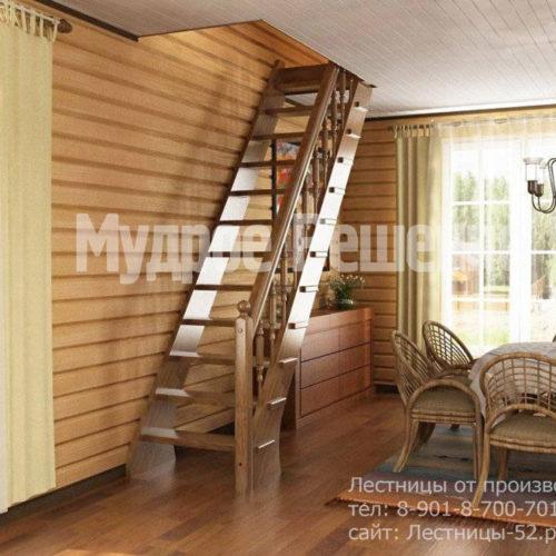 Прямая лестница на второй этаж вид 2