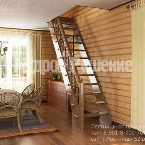 Прямая лестница на второй этаж вид 1
