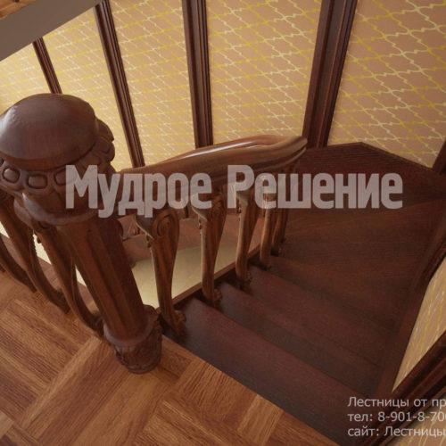 Лестница на второй этаж из темного дерева вид 1